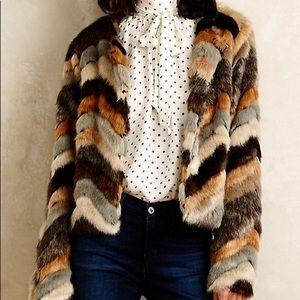 Anthropologie Chevron Faux-Fur Coat